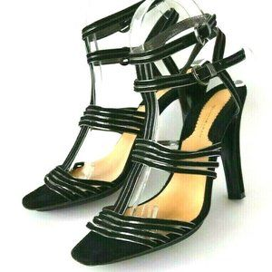 Donna Karan Collection Black Strappy Suede Heels